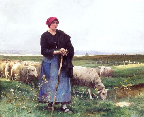 La bergere et son troupeau par Julien Dupré