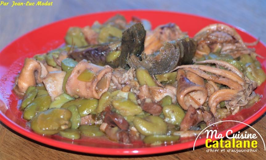Etouffé de calamars aux fèves etartichauts